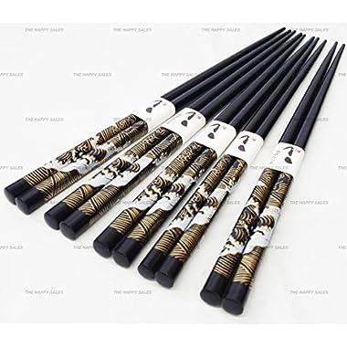 Happy Sales Bamboo Chopsticks Gift Set Wave Design (Wave Black Color)