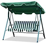 World Pride Garden/Backyard 3 Seater Cushioned Patio Swing,With UV Protected Canopy, Max load:550lb,White/Green stripe