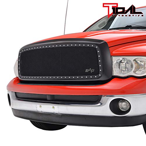 (Rivet Black Mesh Replacement Grille for 02-05 Dodge Ram 1500/2500/ 3500)