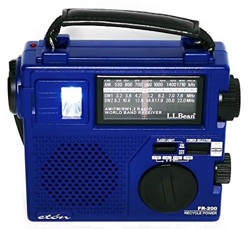 Eton FR-200 Emergency Crank Shortwave AM FM Radio Light - RARE LL Bean Blue Version - Mint Condition