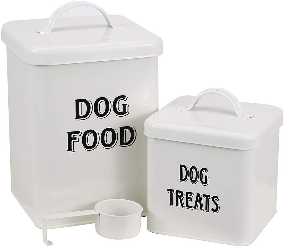 Pethiy Dog Food and Treats Containers Set with Scoop for Dogs-Vintage White Powder-Coated Carbon Steel - Tight Fitting Lids - Storage Canister Tins Small