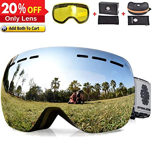 HUBO SPORTS HUIYU Snowledge Ski Goggles OTG Men Women Adult Youth,Snow Goggles Clear Dual Layers Lens- Frameless Interchangeable Lens 100% UV Protection Anti-Fog HY166A