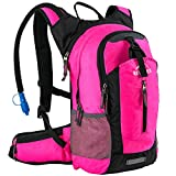 RUPUMPACK Insulated Hydration Backpack Pack with 2.5L BPA Free Bladder, Lightweight Daypack Water Backpack for Hiking Running Cycling Camping, School Commuter, Fits Men, Women, Kids, 18L Pink