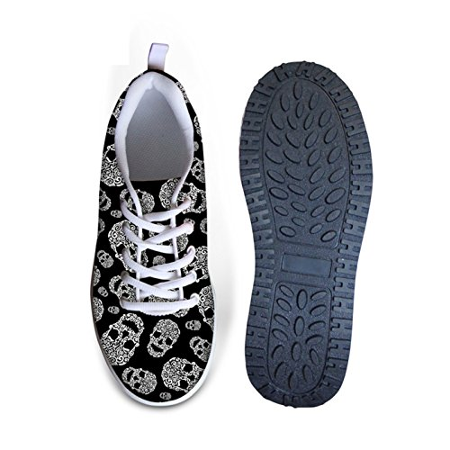 Dellukee Casual Sneakers Mujeres Cráneo Impreso Walking Wedges Platform Shoes Skull 6