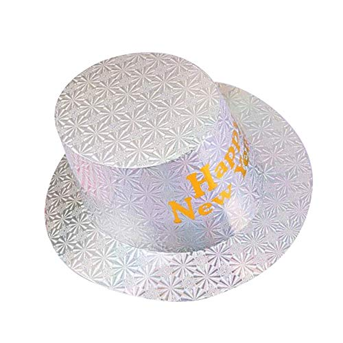 Year Top Hat Happy New (HAPPY NEW YEAR Hats Party Hats Paper Hats for New Years Eve Party Decorations Supplies -(Silver))