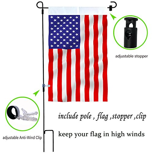 Two Sided Hanging Banner Flag - W&X Garden Flag Stand with American Flag Garden Flag,Anti-Wind Clip,Stopper,Waterproof 2 Sided 12.5x20 Inch Patriotic American Flag Banner Keep Your Flags from Flying Away in High Winds