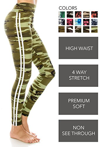 ALWAYS Leggings Women Yoga Pants - Camo Military Army Print Pattern High Waist Workout Buttery Soft Stretchy One Size