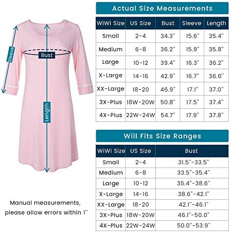 WiWi Women's Bamboo Pajamas 3/4 Sleeves Nightgowns Soft Sleep Dress Plus Size Sleep Shirt Lightweight Sleepwear S-4X