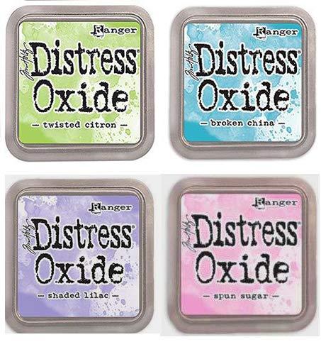 Tim Holtz Ranger Distress Oxide Ink Bundle L - Four 3'' x 3'' Pads - Twisted Citron, Broken China, Shaded Lilac Spun Sugar