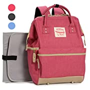 Wide Open Designer Baby Diaper Backpack By Moskka–Travel Bag, Nappy Tote Bag w/ Stroller Straps, Changing Pad & Insulated Pocket For Girl – Pink