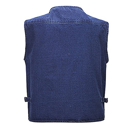 Zhhlaixing Outdoor Working for tela Father's Day Denim Vest Blue Gift Multipocket Fishing Mens Waistcoat Buena wqUxrq