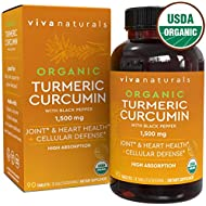 Organic Turmeric Curcumin Supplements with Black Pepper for Better Absorption | 1500mg High Potency Turmeric Pills Organic for Joint Support, Joint Supplements for Men & Women, 90 Tablets.
