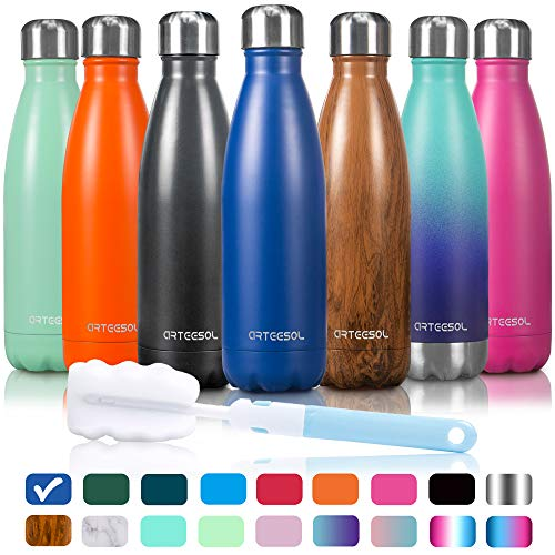 Arteesol Water Bottle | Cola Shape Bottle | Leakproof Keep Hot&Cold | Double Wall Vacuum 18/8 Stainless Steel Bottle | Narrow Mouth Personalized Texture-For Outdoor Sports Camping Traveling ()