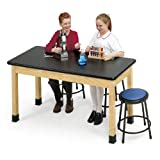 Diversified Woodcrafts P7402K30L - 42''x72'' - 30'' High, Plain Apron Laboratory Table, Red Oak Legs & Apron, ChemGuard Top, Made in USA