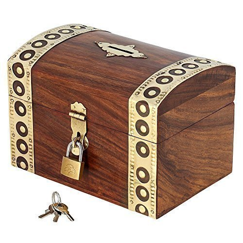 - ShalinIndia Indian Coin Bank Money Saving Box - Banks for Kids & Adults - Wood Vacation Piggy Bank