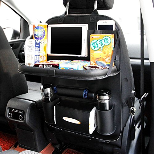 Leather Backseat Seat Organizer for Kids - Storage with Foldable Table, Pocket Storage, Kick Mats