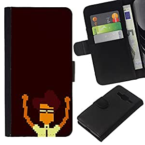 Nerd Pixel - la tarjeta de Crédito Slots PU Funda de cuero Monedero caso cubierta de piel Para Samsung Galaxy Core Prime