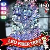 クリスマスLEDファイバーツリー 150cm ホワイト 高輝度