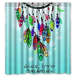 Never Stop Dreaming Awesome Dreamcatcher Art Waterproof Polyester Fabric Bathroom Shower Curtain 66\