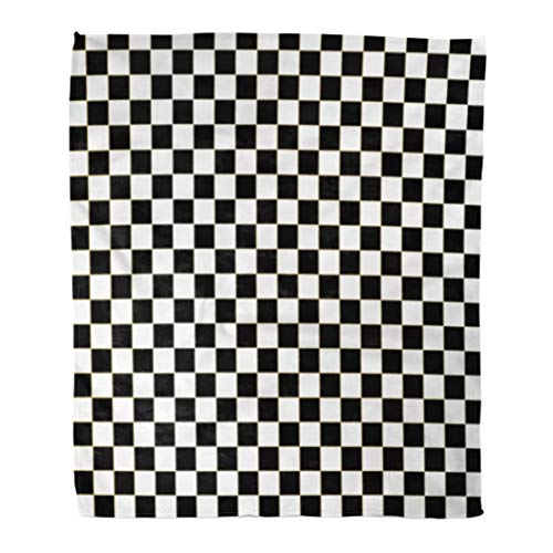 Golee Throw Blanket Chequered Checkered Flag Racing White Race Auto Black Car Check 60x80 Inches Warm Fuzzy Soft Blanket for Bed -