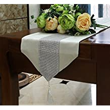 Table Runner Luxury Sparkly Dinner Tablecloth [Diamond Encrusted with Tassels] Classical Party Placemat for Wedding Christmas Reception Banquet Decor [13x72Inch] Creamy White