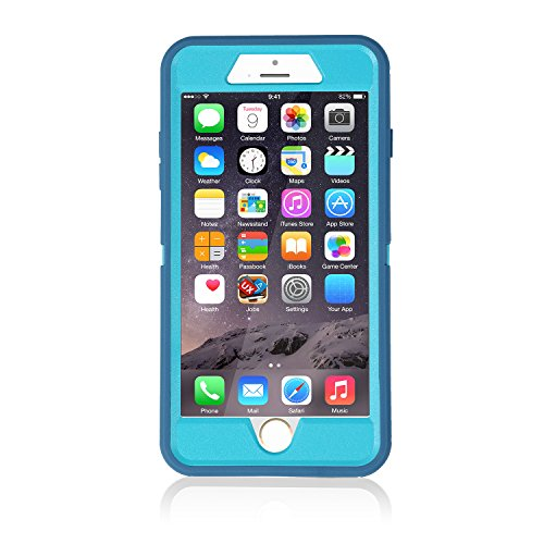 smartelf Case for iPhone 7 Plus/8 Plus Heavy Duty With Built-in Screen Protector Shockproof Dust Drop Proof Protective Cover Hard Shell for Apple iPhone 7+/8+ 5.5 inch-Light Blue