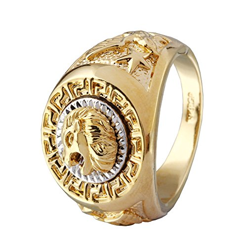ANDI ROSE Fashion Men 18K Gold GP Cool Lion Eagle Star Ring Size 8 / 9 / 10 / 11.5 / 12.5 (Size 13, Gold-lion)