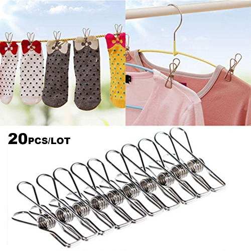 Amapower 20 PCS Mini Household Clamps Hanging Pins Stainless