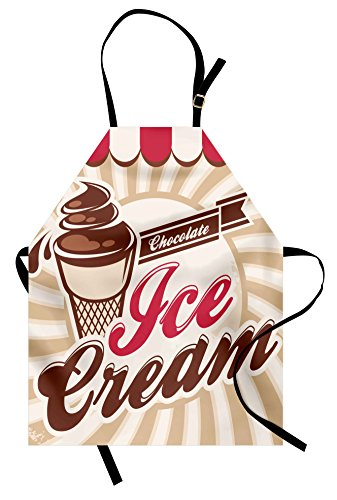 Ice Cream Apron by Lunarable, Old Fashioned Advertisement Design for Homemade Chocolate Ice Cream, Unisex Kitchen Bib Apron with Adjustable Neck for Cooking Baking Gardening, Brown Beige Dark Coral