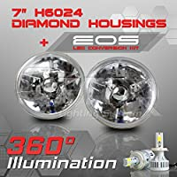 H6024 7 Inch Round Sealed Beam Headlight - Clear Glass Diamond Cut Housing - H4 LED Conversion Kit 6000K Cool White 8000LM 80W