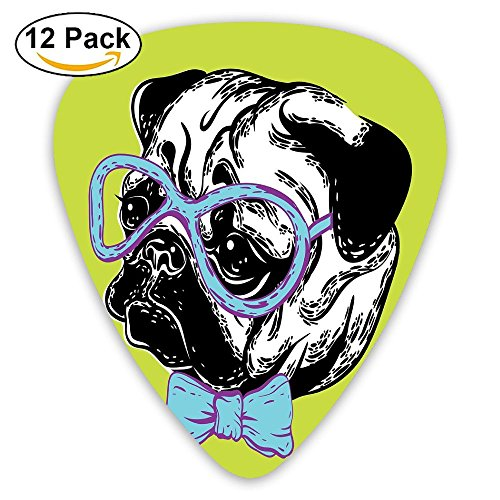 Newfood Ss Cute Dog With A Bow Tie And Nerdy Glasses On Yellow Backdrop Funny Comic Image Decorative Guitar Picks 12/Pack Set