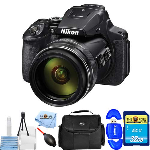 Nikon COOLPIX P900 Digital Camera (Black) #26499 Starter B UNDLE with 32GB SD, Memory Card Reader, Gadget Bag, Blower, Microfiber Cloth and Cleaning Kit [International Version]
