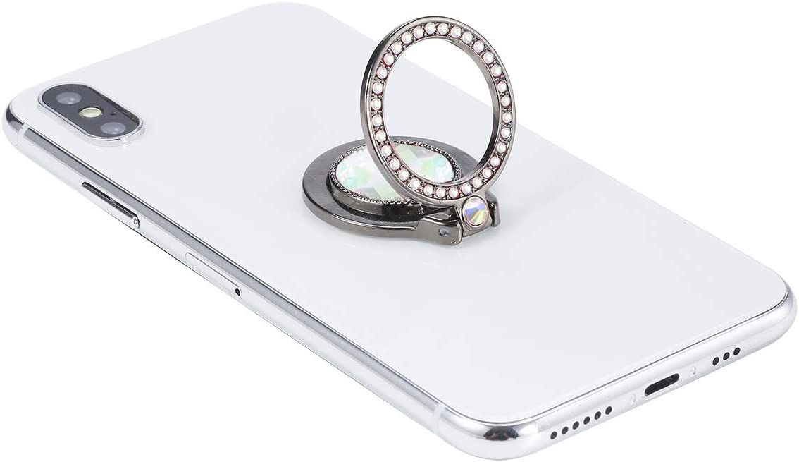 Silver lenoup Glitter Bling Bling Phone Ring Holder,Sparkle Phone Ring Artificial Diamond Stand,Rhinestone Cell Phone Finger Ring for Phones,Pad