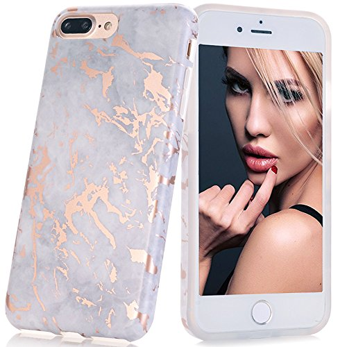 BAISRKE Shiny Rose Gold Grey Marble Design Bumper Matte TPU Soft Rubber Silicone Cover Phone Case Compatible with iPhone 7 Plus/iPhone 8 Plus [5.5 inch]