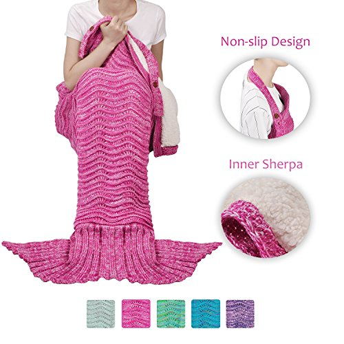 Tirrinia Sherpa Mermaid Tail Blanket for Adults Teens Girls Womens, Super Comfy Warm Anti-Slip Knitted Mermaid Blanket Wave Pattern | Gift Package Included, Purple
