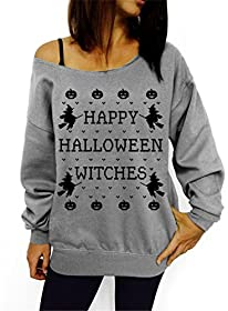 Lymanchi Women Halloween Witches Off Shoulder Pullover Slouchy Shirt Sweatshirts