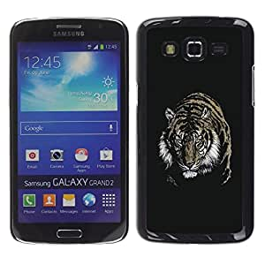 LECELL -- Funda protectora / Cubierta / Piel For Samsung Galaxy Grand 2 SM-G7102 SM-G7105 -- Fierce Tiger --