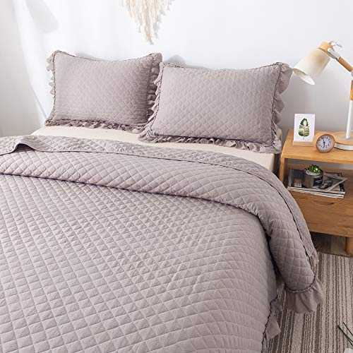 - FELIX ANGELA HOME Ruffled Throw Blanket with Diamond Pattern, Taupe, 50