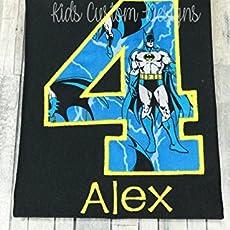 Batman Birthday Shirt Embroidered 4th 5th 6th
