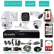 Eyedea H 1080P 8 CH DVR 18x Zoom Outdoor PTZ Speed Dome Audio CCTV Security Camera System