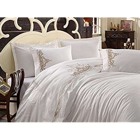 Dantela Vita Cotton Satin Sheet Set For Queen Bed Olivia Beige