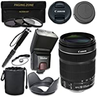 Canon EF-S 18–135mm f/3.5–5.6 IS STM Lens with Vivitar TTL Flash + 3pc Filter Kit + Monopod