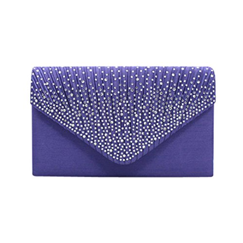Bridal Evening Women SOMESUN Diamante Ladies Satin Purple Clutch Large Bag Handbag 1BB875q