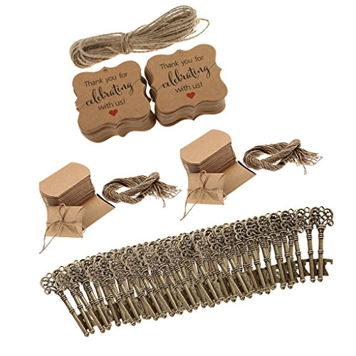 Baoblaze 100 Sets Wedding Favors Candy Box with Antique Skeleton Key Bottle Openers Thank You Tag Pillow Box