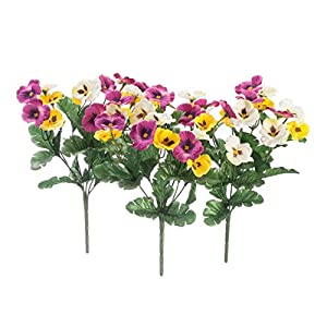 "OakRidge Pansy Bushes, Set of 3 - Artificial Indoor/Outdoor Home and Garden Décor - 11"" x 5"" x 5"" Each 8"