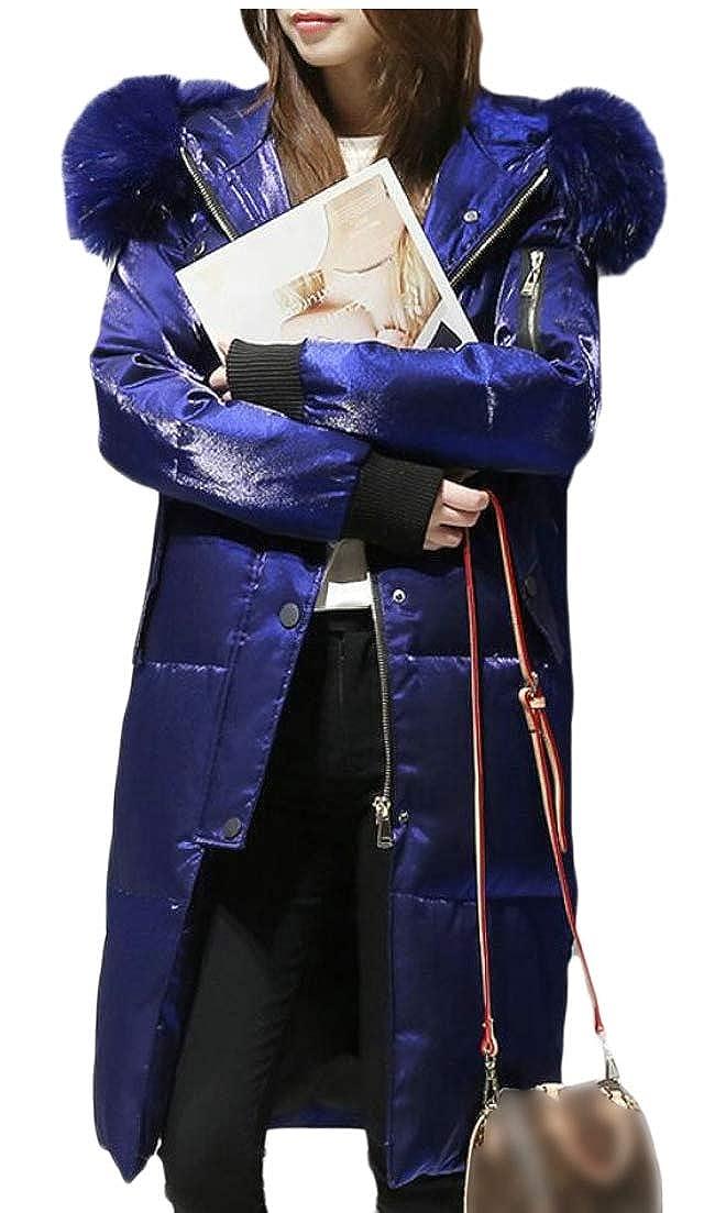 2 jxfd Women Parka Winter Long Coat Faux Fur Anroak Down Jacket Puffer Coats