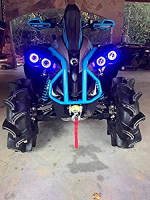 Maverick GREEN angel eye set 4 Canam commander Can-Am Halo Rings headlights