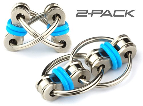Tom's Fidgets Flippy Chain Fidget Toy Perfect for ADHD, Anxiety, and Autism - Bike Chain Fidget Stress Reducer for Adults and Kids (Blue 2PK)