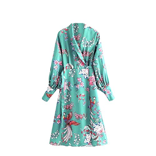 Coolred-femmes Printemps Impression Verte Robe Midi Ressort À Manches Longues