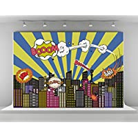 Superhero Photography Backdrops Colorful City Background for Photo Booth for Children Shooting Props (7x5ft)